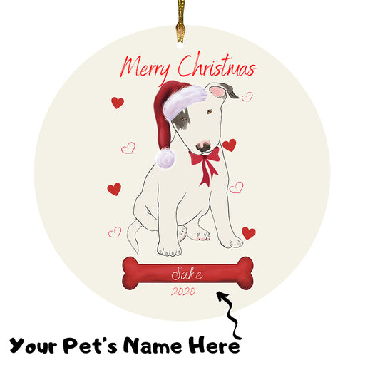 Personalized Merry Christmas  Bull Terrier Dog Christmas Tree Round Flat Ornament RBPOR58930