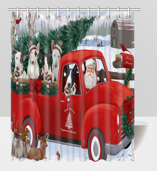 Christmas Santa Express Delivery Red Truck Bull Terrier Dogs Shower Curtain