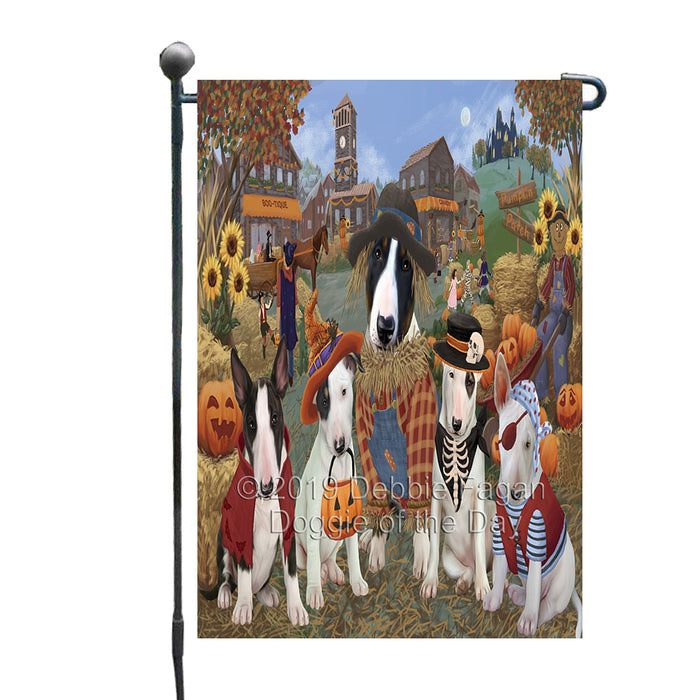 Halloween 'Round Town And Fall Pumpkin Scarecrow Both Bull Terrier Dogs Garden Flag GFLG65582
