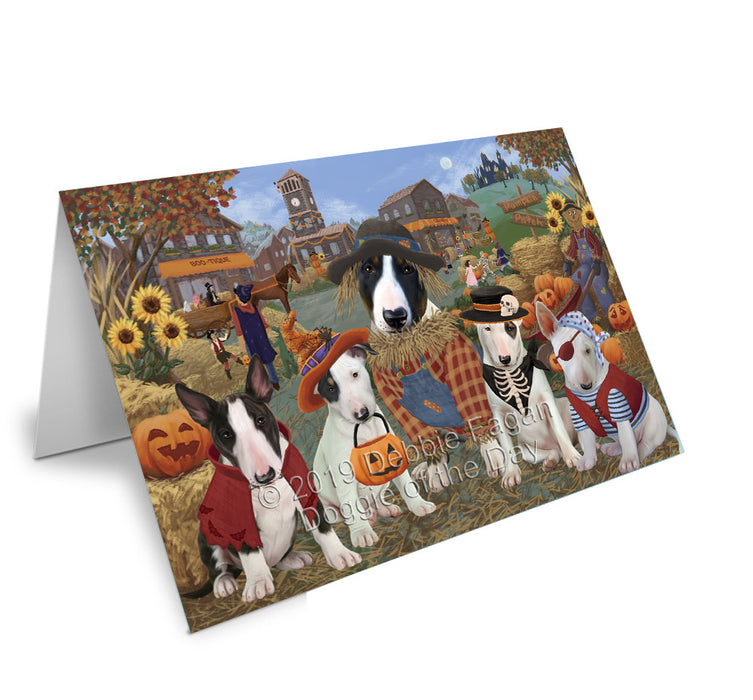 Halloween 'Round Town Bull Terrier Dogs Greeting Card GCD77792