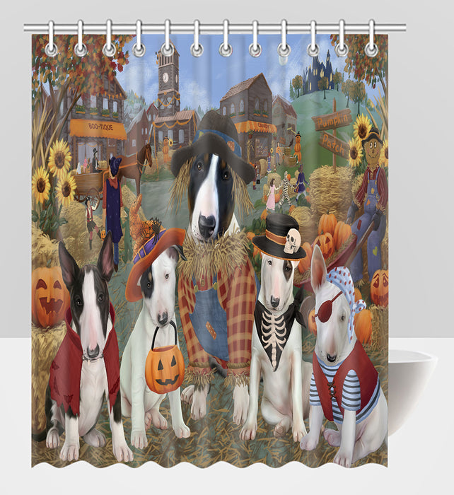 Halloween 'Round Town Bull Terrier Dogs Shower Curtain