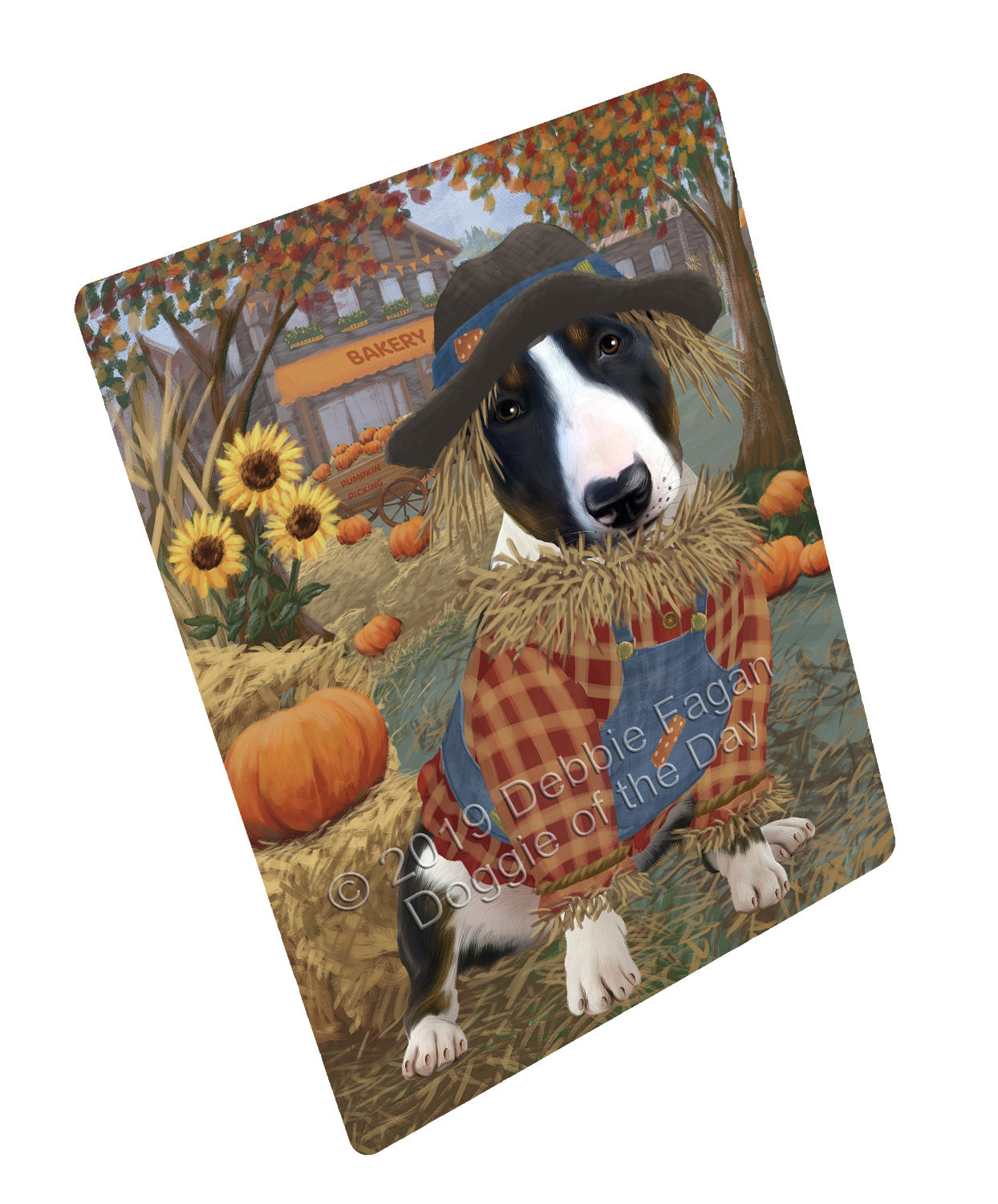 Halloween 'Round Town And Fall Pumpkin Scarecrow Both Bull Terrier Dogs Large Refrigerator / Dishwasher Magnet RMAG104688