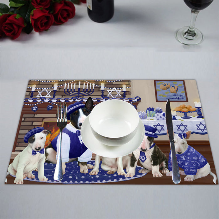 Happy Hanukkah Family Bull Terrier Dogs Placemat