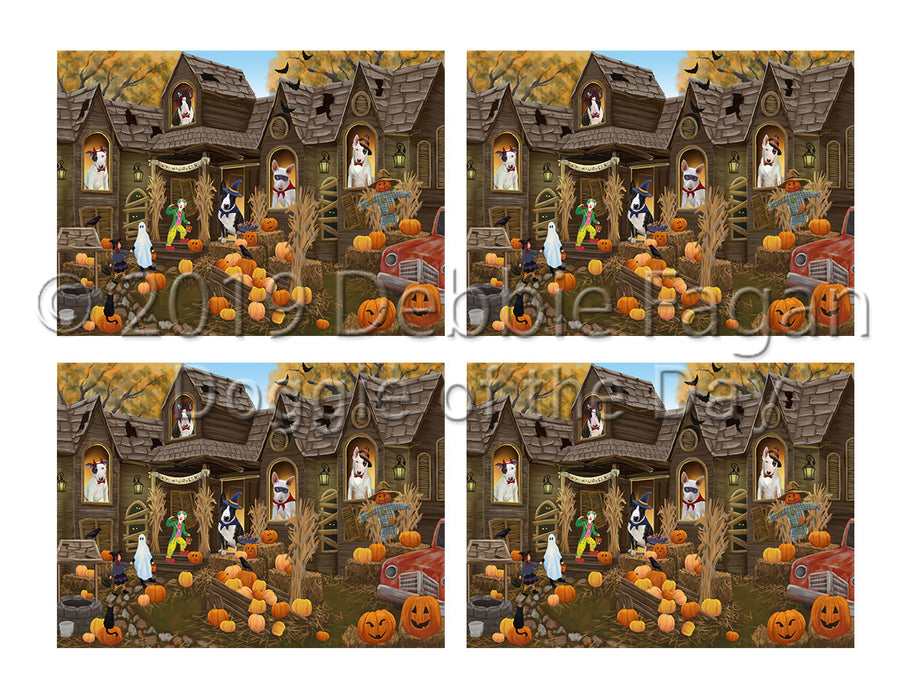 Haunted House Halloween Trick or Treat Bull Terrier Dogs Placemat