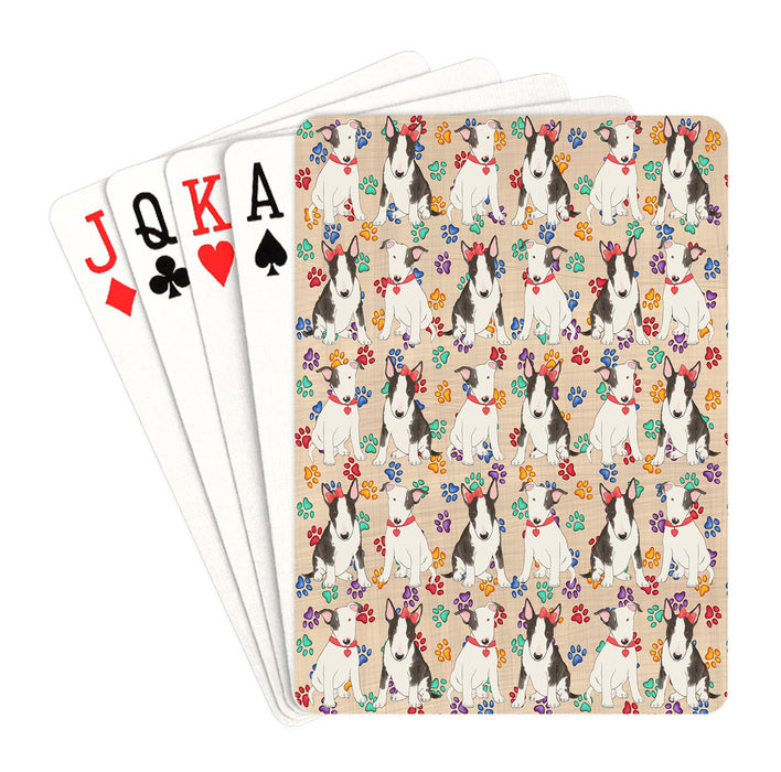 Rainbow Paw Print Bull Terrier Dogs Red Playing Card Decks