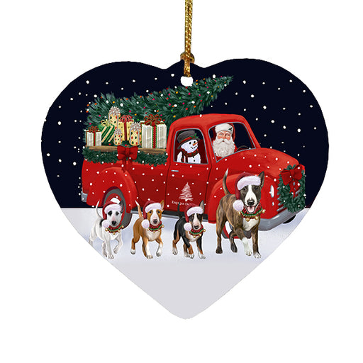 Christmas Express Delivery Red Truck Running Bull Terrier Dogs Heart Christmas Ornament RFPOR58075