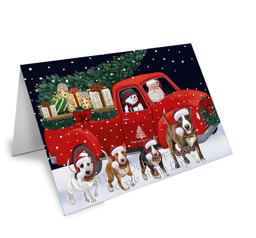 Christmas Express Delivery Red Truck Running Bull Terrier Dogs Greeting Card GCD75086