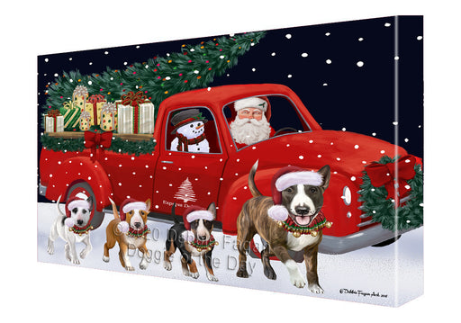 Christmas Express Delivery Red Truck Running Bull Terrier Dogs Canvas Print Wall Art Décor CVS145934