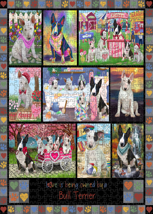 Love is Being Owned Bull Terrier Dog Grey Puzzle with Photo Tin PUZL98328