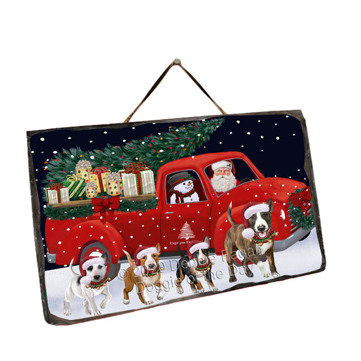 Christmas Express Delivery Red Truck Running Bull Terrier Dogs Wall Décor Hanging Photo Slate SLTH58143