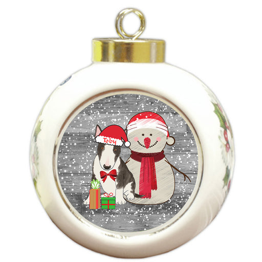 Custom Personalized Snowy Snowman and Bull Terrier Dog Christmas Round Ball Ornament