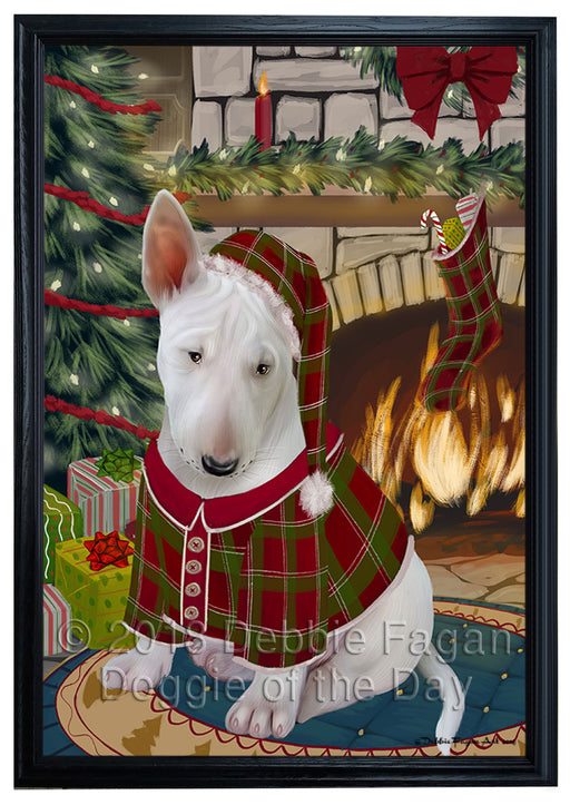 The Stocking was Hung Bull Terrier Dog Framed Canvas Print Wall Art FCVS176265