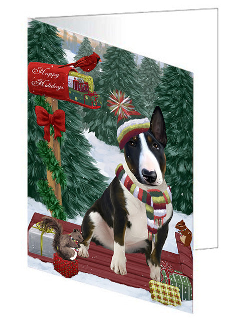 Merry Christmas Woodland Sled Bull Terrier Dog Note Card NCD69131