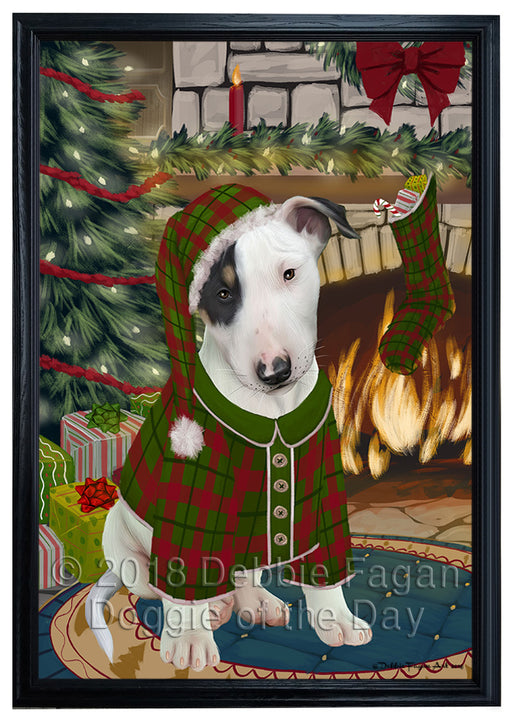 The Stocking was Hung Bull Terrier Dog Framed Canvas Print Wall Art FCVS176282