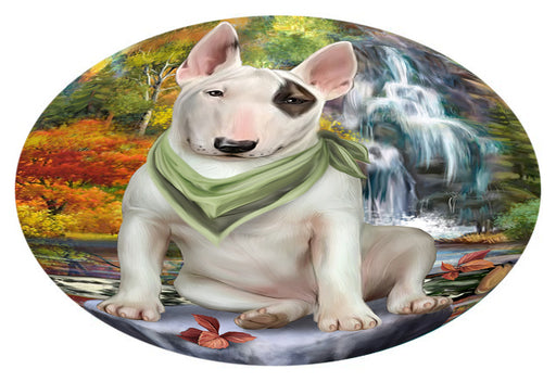Scenic Waterfall Bull Terrier Dog Oval Envelope Seals OVE63368