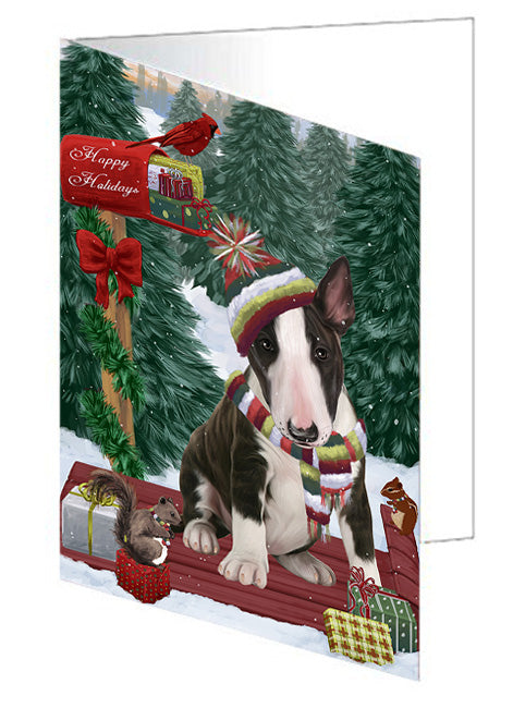 Merry Christmas Woodland Sled Bull Terrier Dog Note Card NCD69134