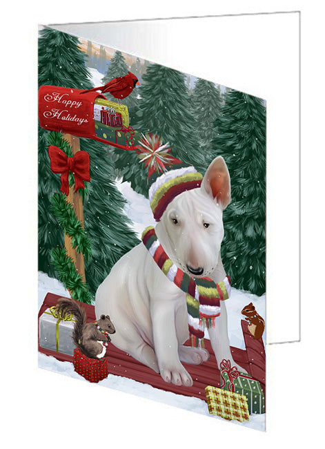 Merry Christmas Woodland Sled Bull Terrier Dog Note Card NCD69137