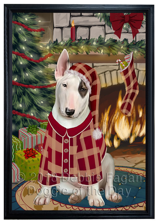 The Stocking was Hung Bull Terrier Dog Framed Canvas Print Wall Art FCVS176299