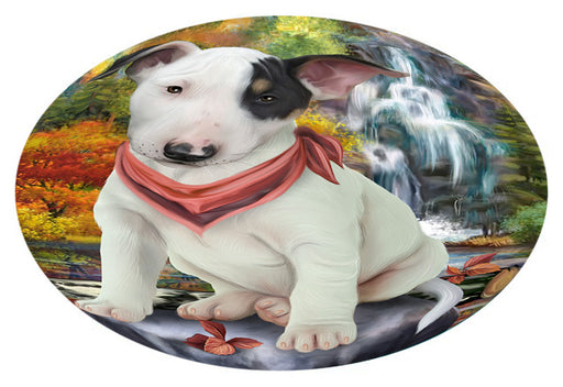 Scenic Waterfall Bull Terrier Dog Oval Envelope Seals OVE63376
