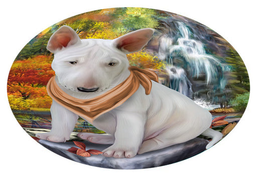 Scenic Waterfall Bull Terrier Dog Oval Envelope Seals OVE63380