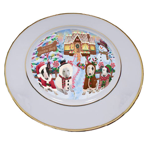 Holiday Gingerbread Cookie Shop Bull Terriers Dog Porcelain Plate PLT54735