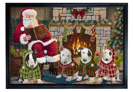 Christmas Cozy Holiday Tails Bull Terriers Dog Framed Canvas Print Wall Art FCVS173919