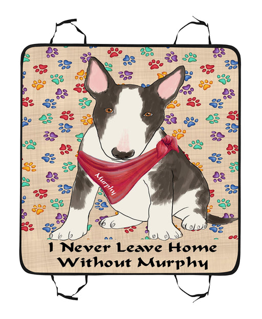 Personalized I Never Leave Home Paw Print Bull Terrier Dogs Pet Back Car Seat Cover
