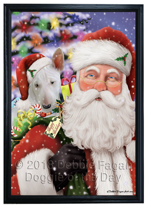 Santa Carrying Bull Terrier Dog and Christmas Presents Framed Canvas Print Wall Art FCVS149439
