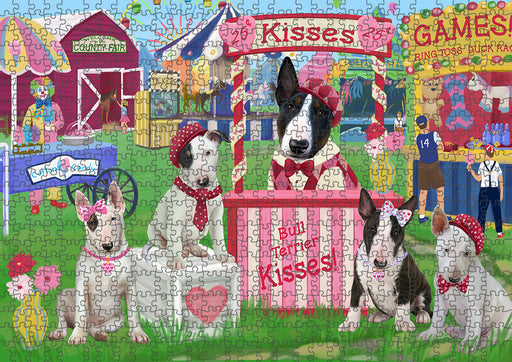Carnival Kissing Booth Bull Terriers Dog Puzzle with Photo Tin PUZL93320
