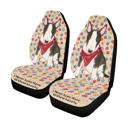 Personalized I Never Leave Home Paw Print Bull Terrier Dogs Pet Front Car Seat Cover (Set of 2)