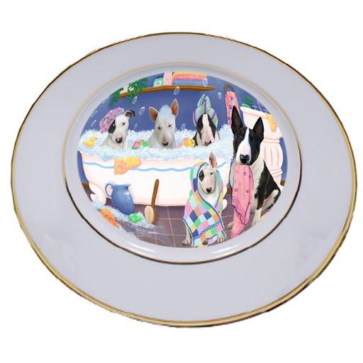 Rub A Dub Dogs In A Tub Bull Terriers Dog Porcelain Plate PLT55123