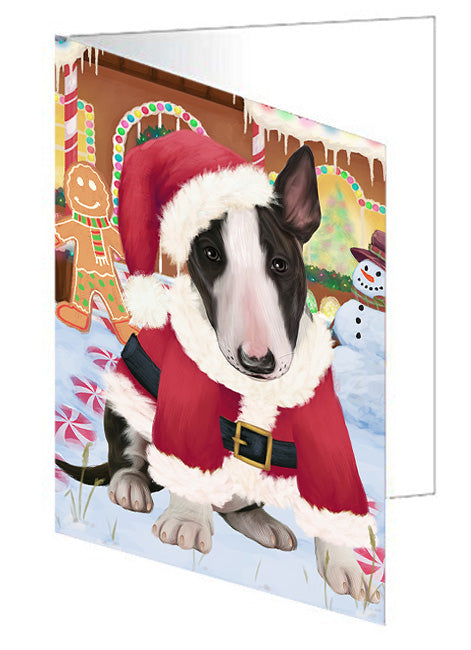 Christmas Gingerbread House Candyfest Bull Terrier Dog Note Card NCD73382