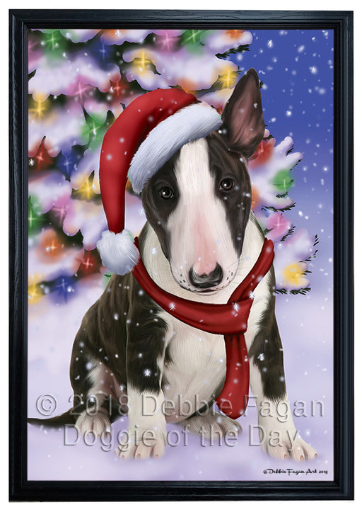 Winterland Wonderland Bull Terrier Dog In Christmas Holiday Scenic Background  Framed Canvas Print Wall Art FCVS139273