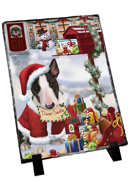 Bull Terrier Dog Dear Santa Letter Christmas Holiday Mailbox Sitting Photo Slate SLT57495