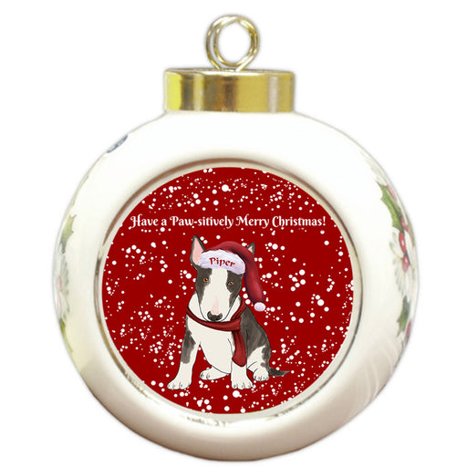 Custom Personalized Pawsitively Bull Terrier Dog Merry Christmas Round Ball Ornament