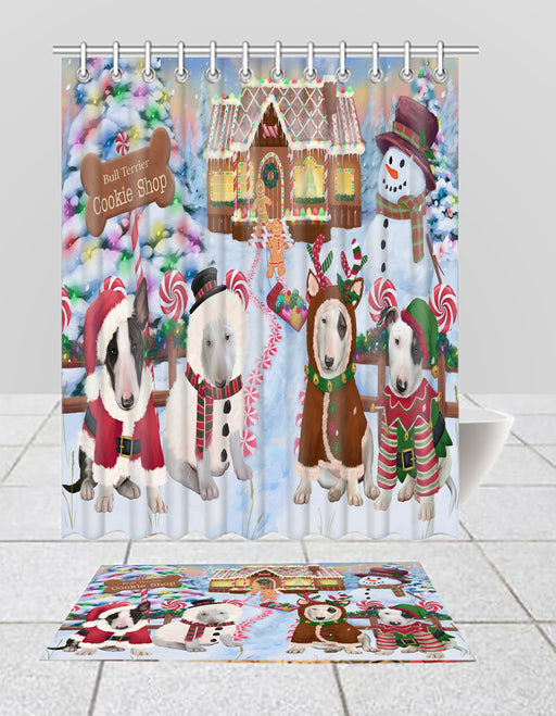 Holiday Gingerbread Cookie Bull Terrier Dogs  Bath Mat and Shower Curtain Combo