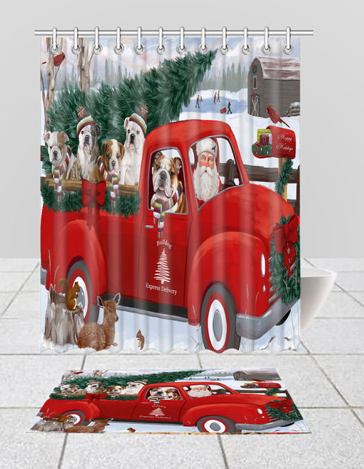Christmas Santa Express Delivery Red Truck Bulldog Dogs Bath Mat and Shower Curtain Combo