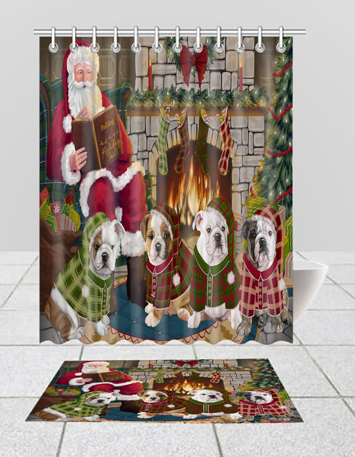 Christmas Cozy Holiday Fire Tails Bulldog Dogs Bath Mat and Shower Curtain Combo