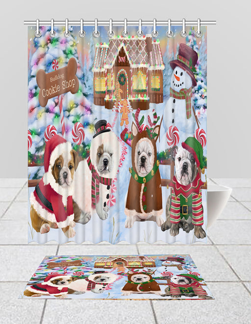 Holiday Gingerbread Cookie Bulldog Dogs  Bath Mat and Shower Curtain Combo