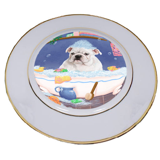 Rub A Dub Dog In A Tub Bulldog Porcelain Plate PLT57377