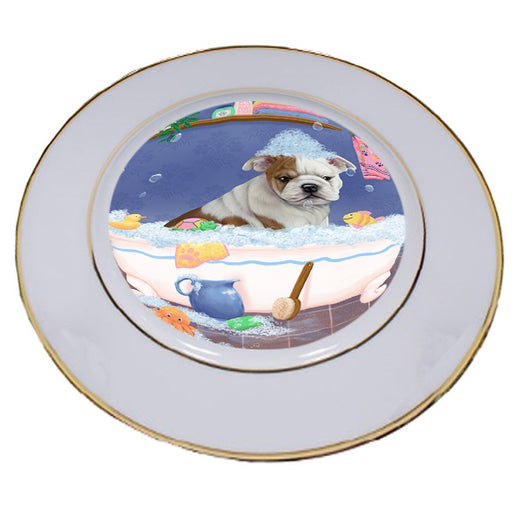 Rub A Dub Dog In A Tub Bulldog Porcelain Plate PLT57378