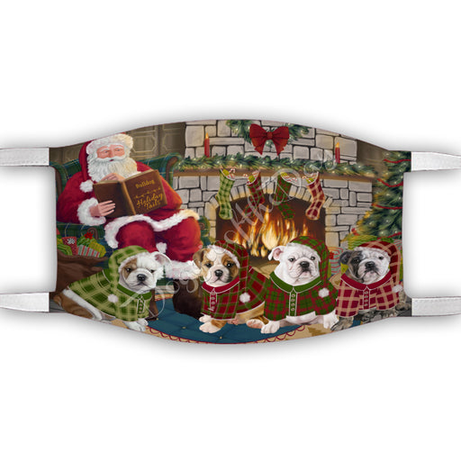 Christmas Cozy Holiday Fire Tails Bulldog Dogs Face Mask FM48618