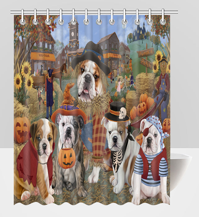 Halloween 'Round Town Bulldog Dogs Shower Curtain