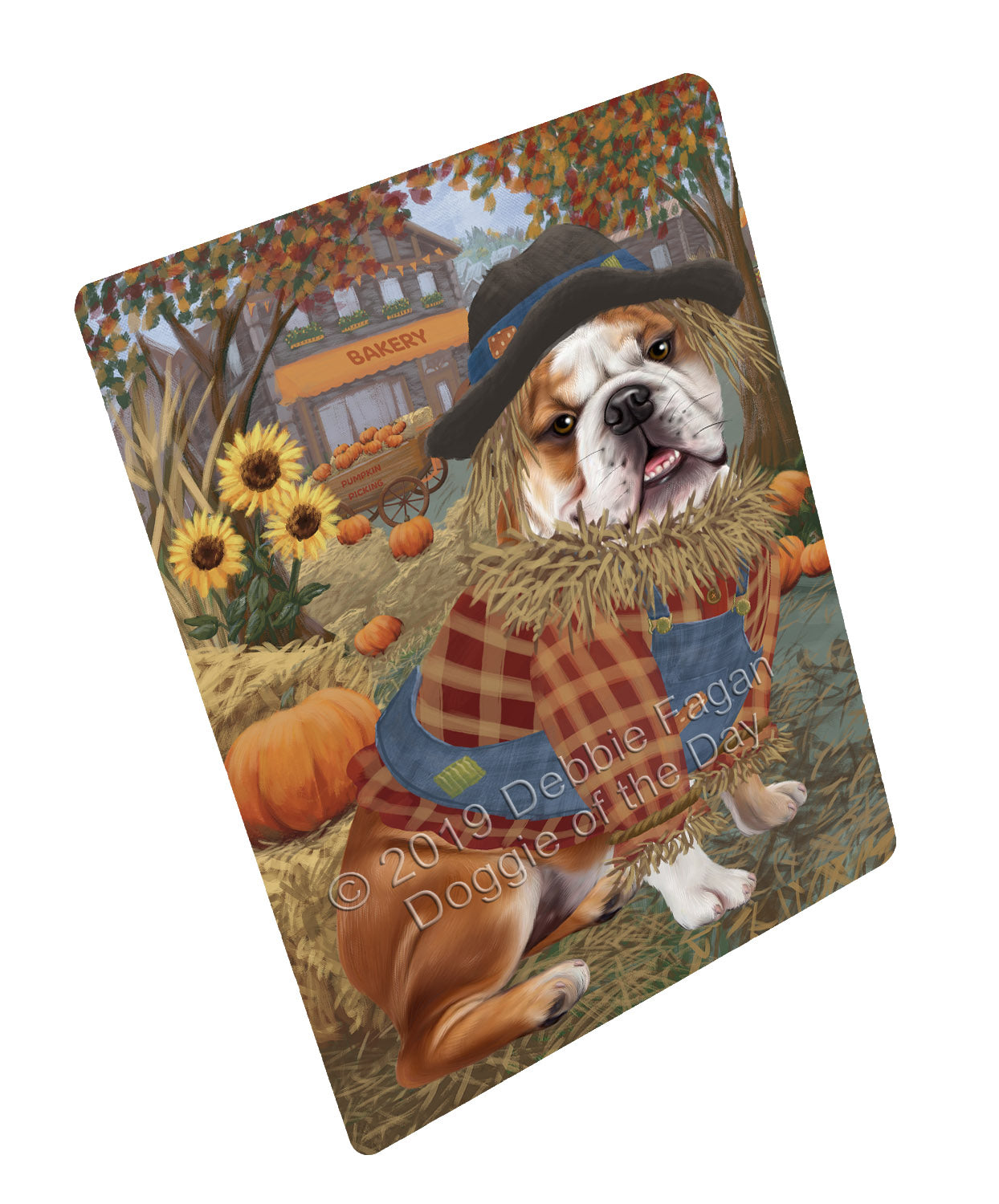 Halloween 'Round Town And Fall Pumpkin Scarecrow Both BullDogs Large Refrigerator / Dishwasher Magnet RMAG104694