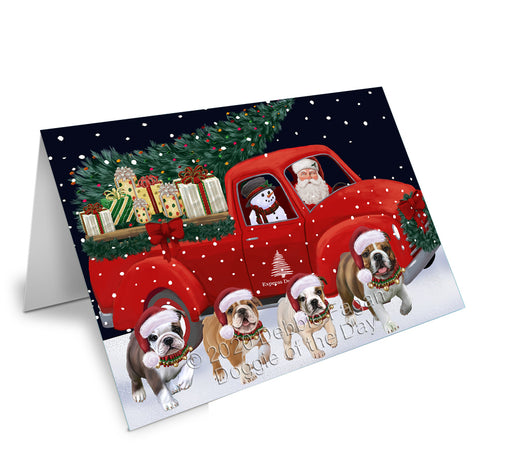 Christmas Express Delivery Red Truck Running Bulldogs Greeting Card GCD75089