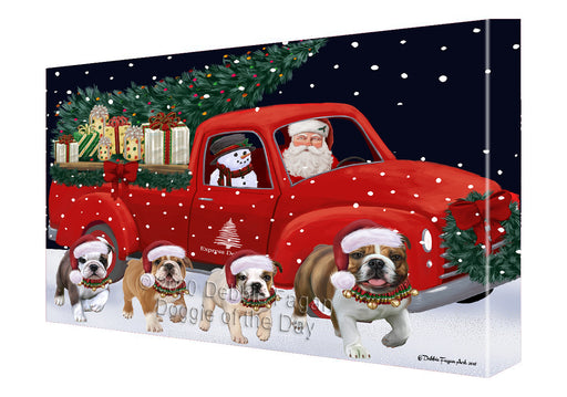 Christmas Express Delivery Red Truck Running Bulldogs Canvas Print Wall Art Décor CVS145943