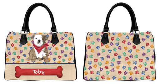 Custom PersonalizedRed Paw Print Bulldog Euramerican Tote Bag Bulldog Boston Handbag