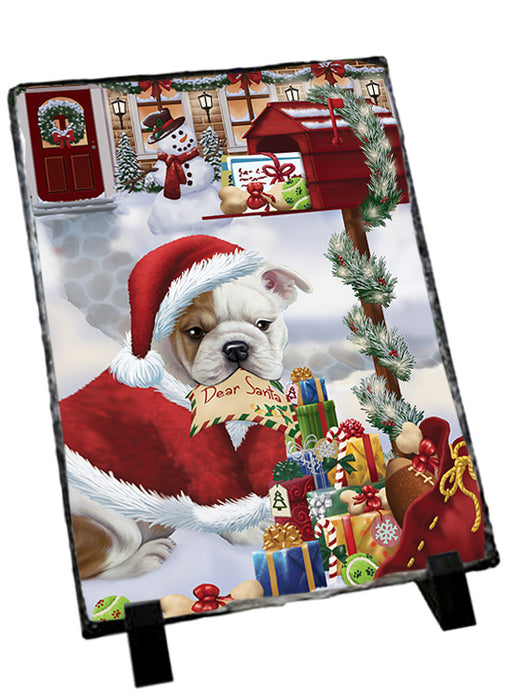 Bulldog Dear Santa Letter Christmas Holiday Mailbox Sitting Photo Slate SLT57496