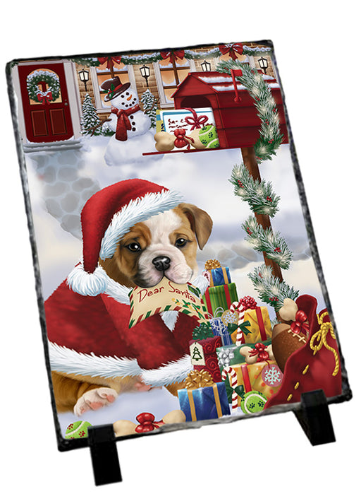 Bulldog Dear Santa Letter Christmas Holiday Mailbox Sitting Photo Slate SLT57497