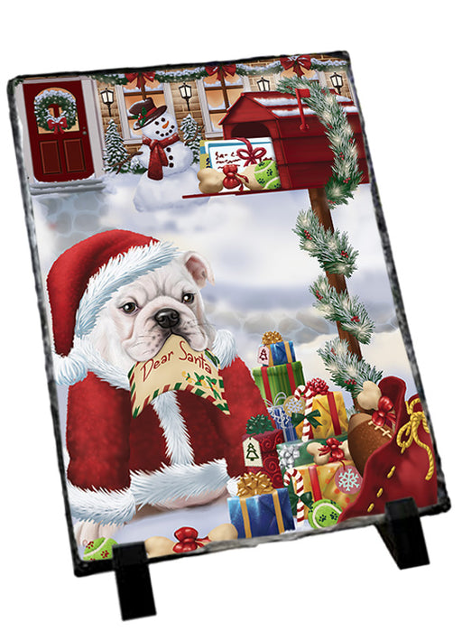 Bulldog Dear Santa Letter Christmas Holiday Mailbox Sitting Photo Slate SLT57498